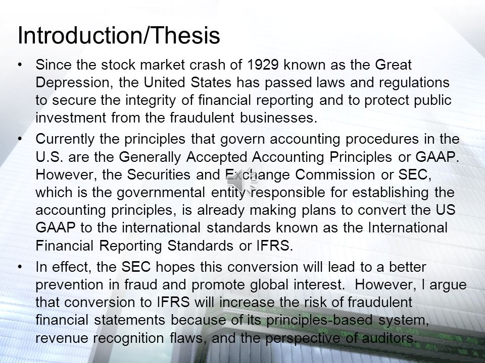 International Financial Reporting Standards - Essay Example