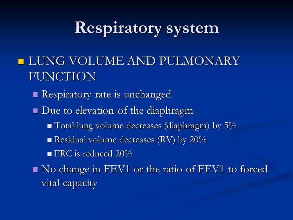 Respiratory system LUNG VOLUME AND PULMONARY FUNCTION