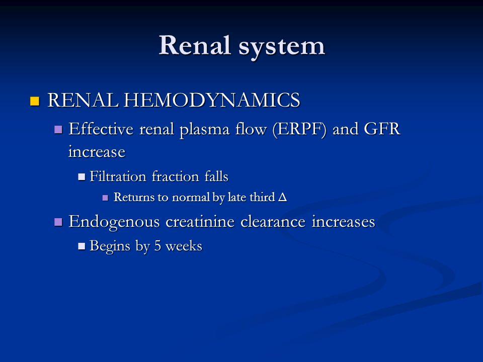 Renal system RENAL HEMODYNAMICS