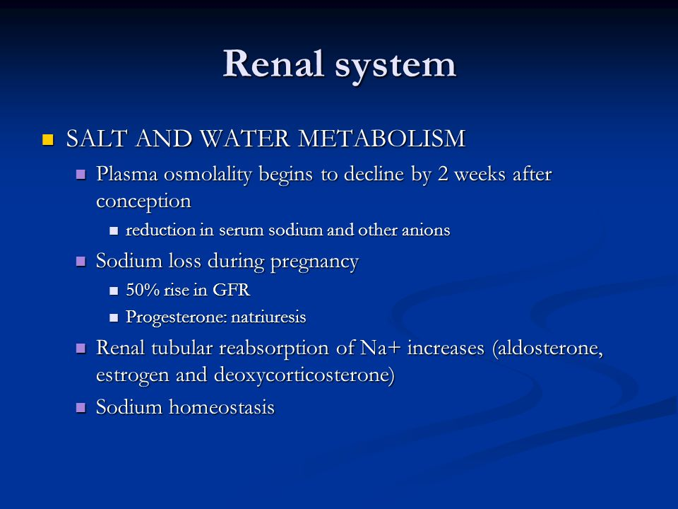 Renal system SALT AND WATER METABOLISM