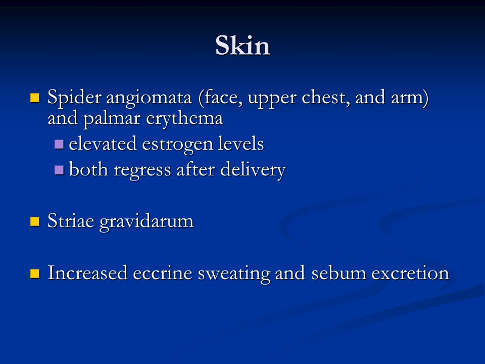 Skin Spider angiomata (face, upper chest, and arm) and palmar erythema