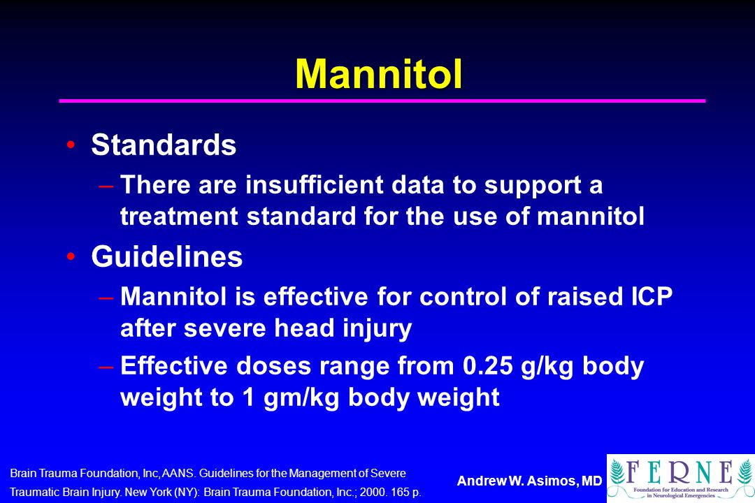 Mannitol Standards Guidelines