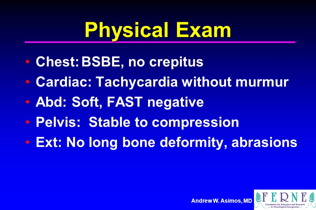 Physical Exam Chest: BSBE, no crepitus
