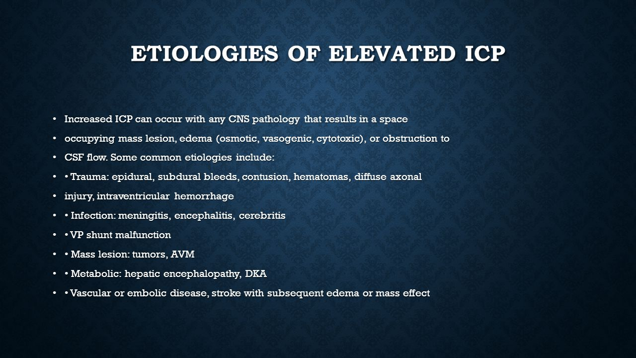 Etiologies of elevated ICP