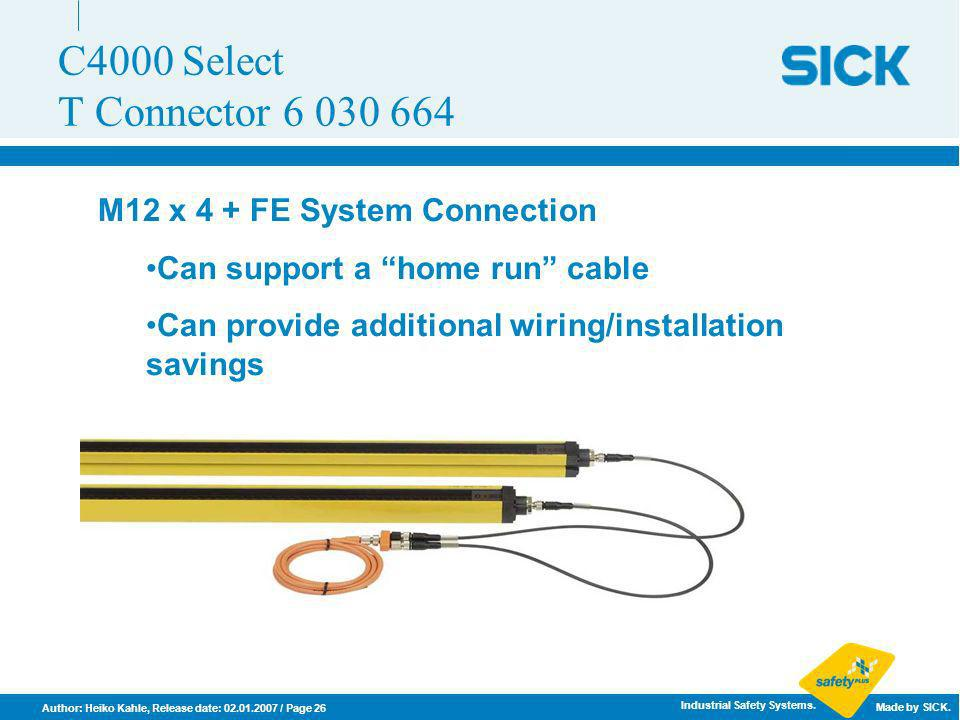 C4000 Select T Connector 6 030 664 M12 x 4 + FE System Connection