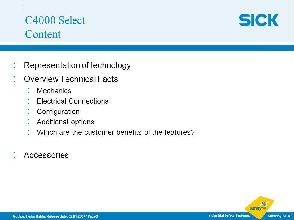 C4000 Select Content Representation of technology