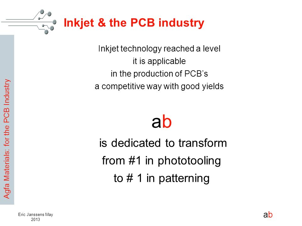 Inkjet & the PCB industry
