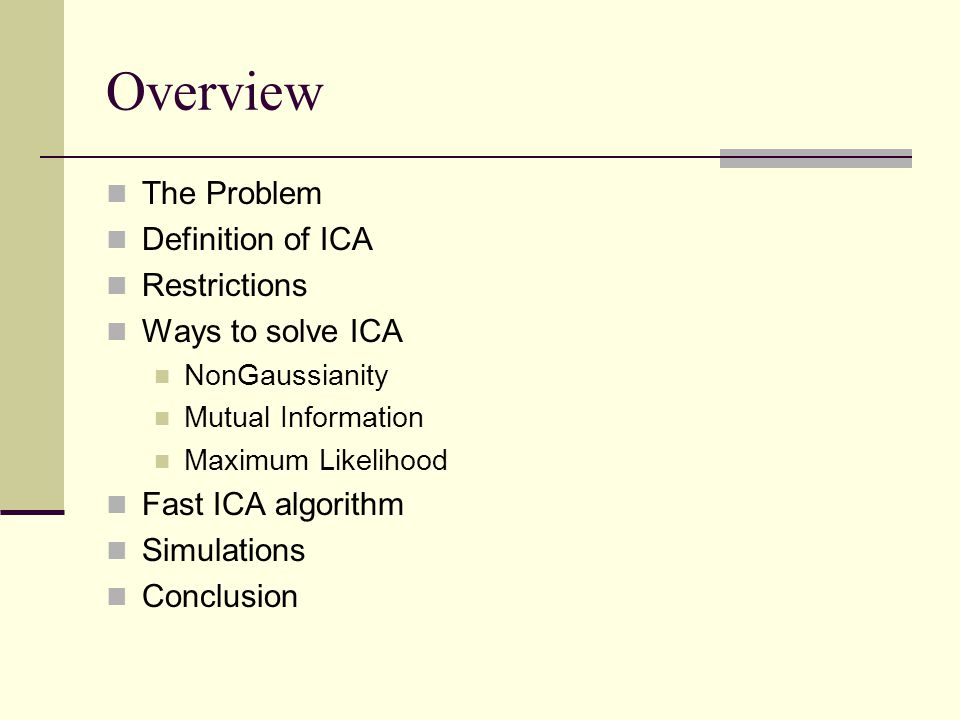 Overview The Problem Definition of ICA Restrictions Ways to solve ICA