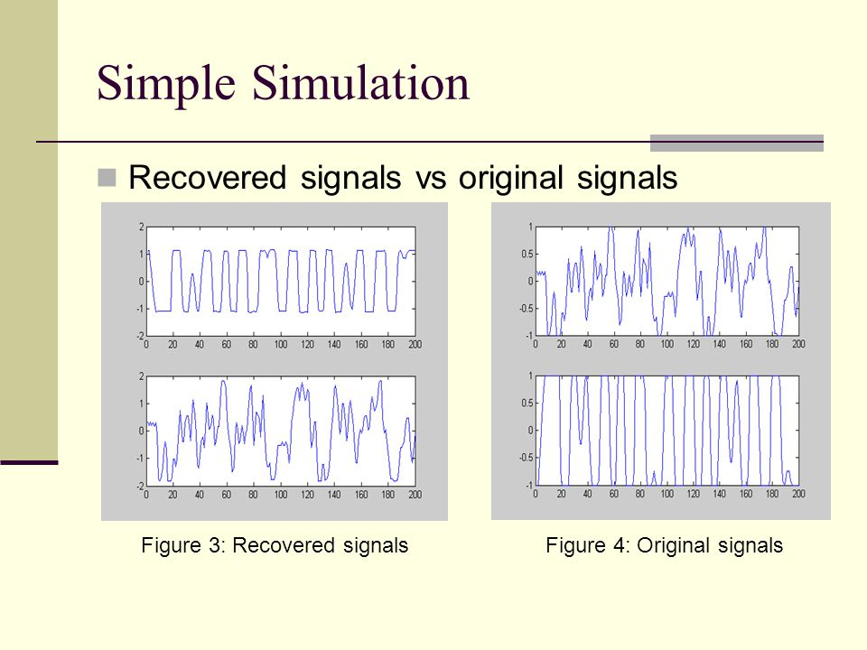 Simple Simulation Recovered signals vs original signals