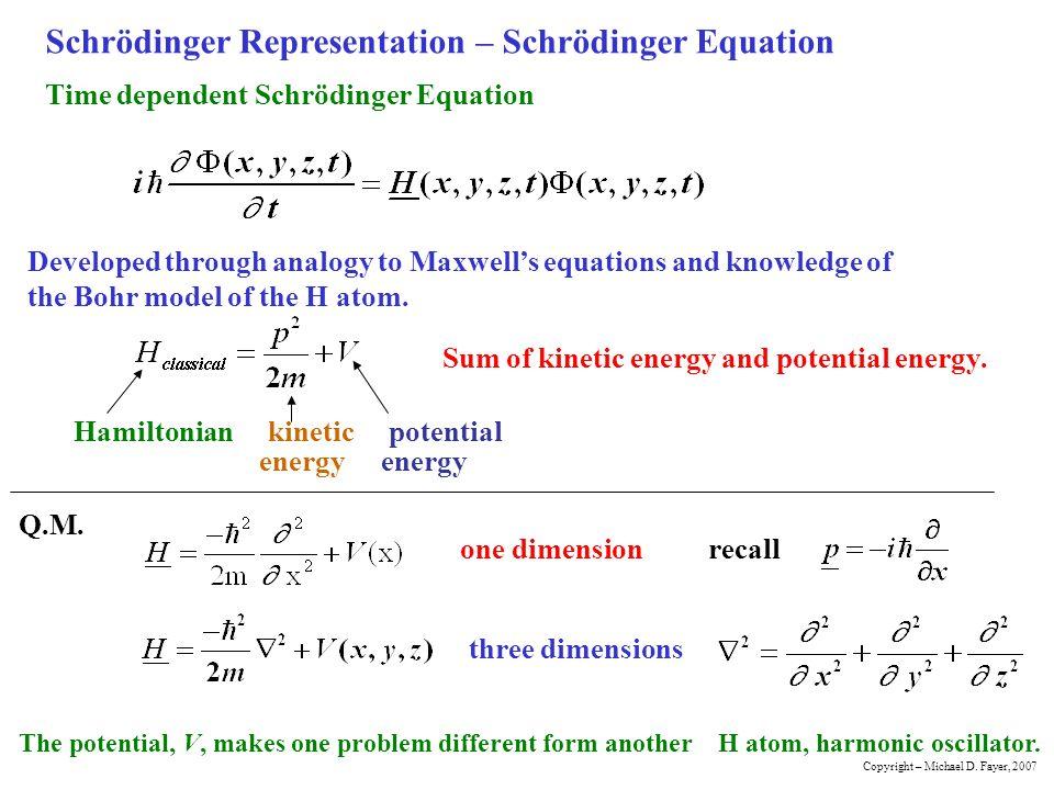 Schrödinger Representation – Schrödinger Equation