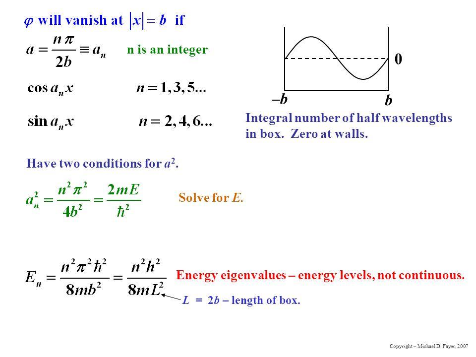 –b b n is an integer Integral number of half wavelengths