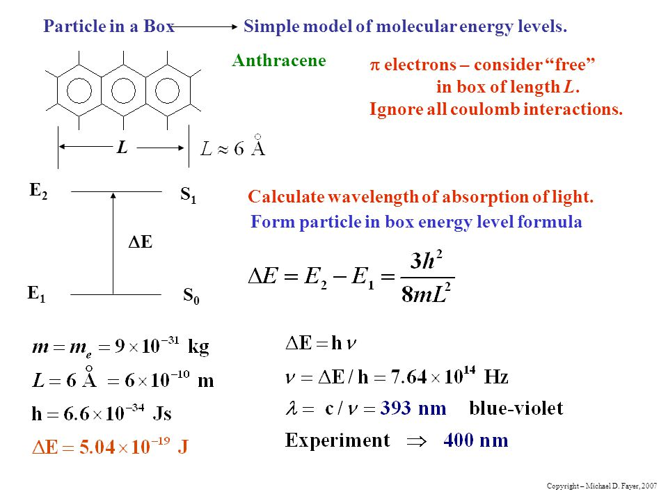Particle in a Box Simple model of molecular energy levels.