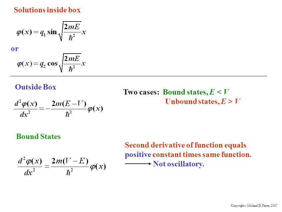 Two cases: Bound states, E < V Unbound states, E > V