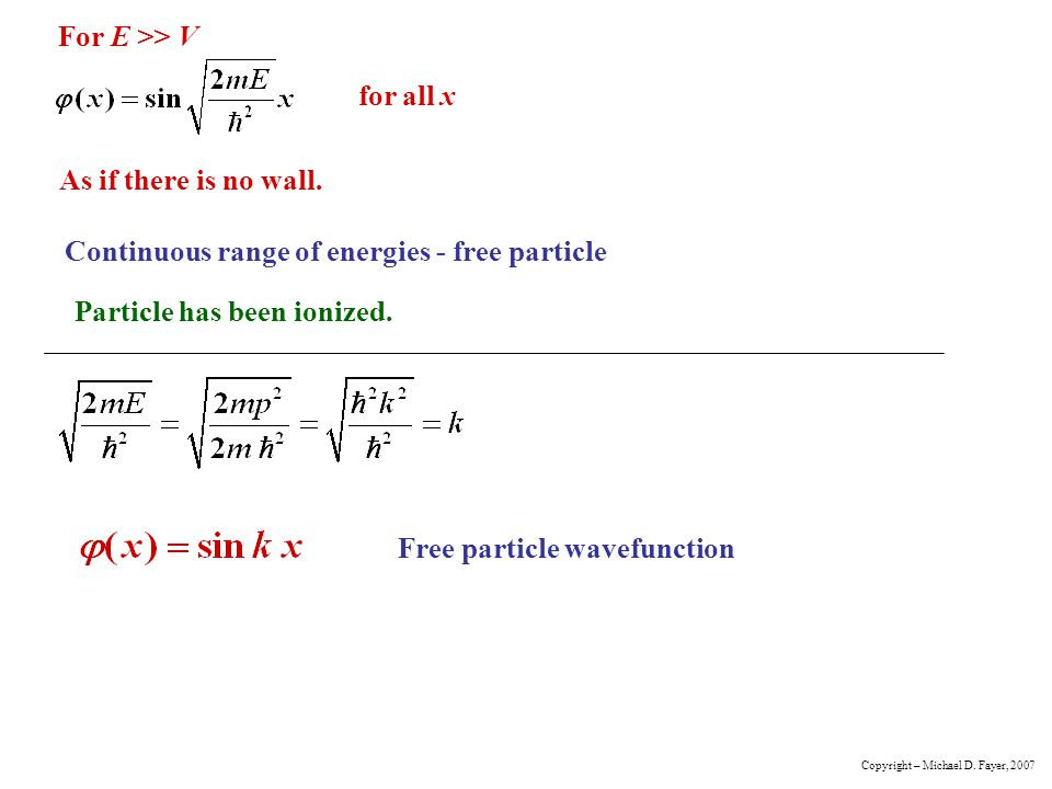 Continuous range of energies - free particle