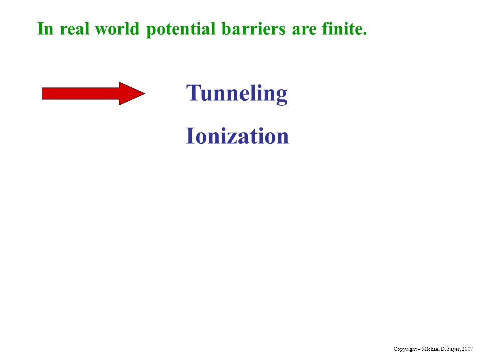 Tunneling Ionization In real world potential barriers are finite.
