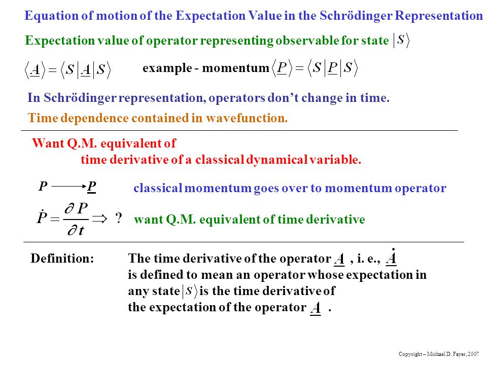 Expectation value of operator representing observable for state