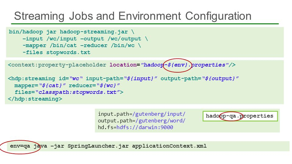 Streaming Jobs and Environment Configuration