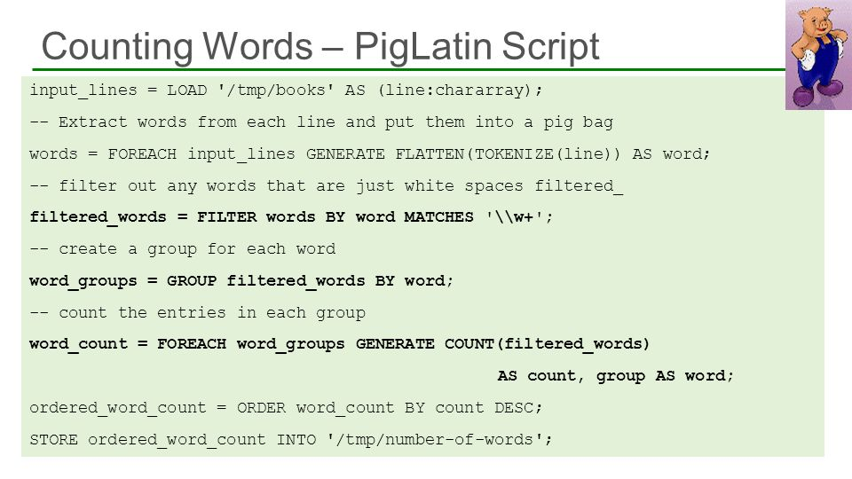 Counting Words – PigLatin Script