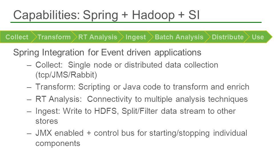 Capabilities: Spring + Hadoop + SI