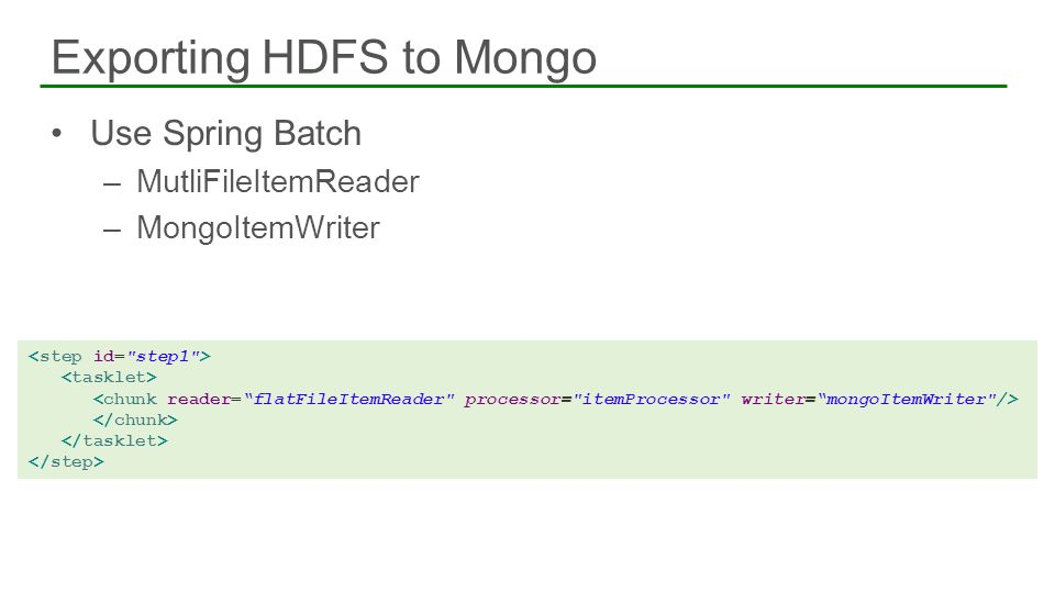 Exporting HDFS to Mongo