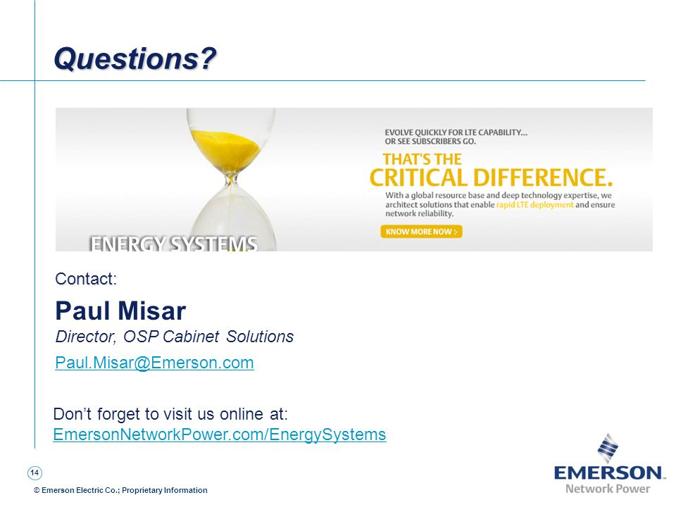 Questions Paul Misar Contact: Director, OSP Cabinet Solutions