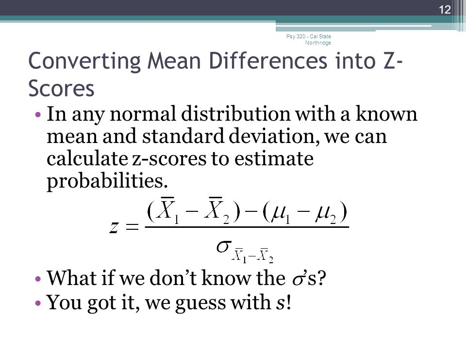 Converting Mean Differences into Z-Scores