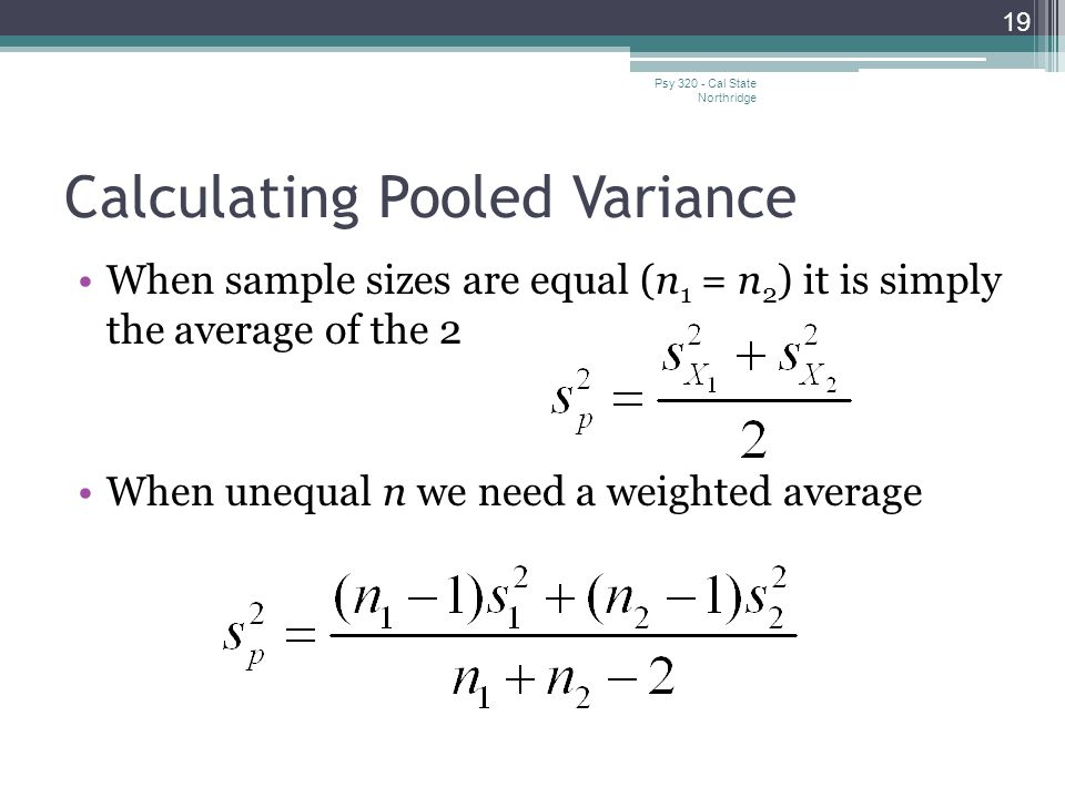 Calculating Pooled Variance