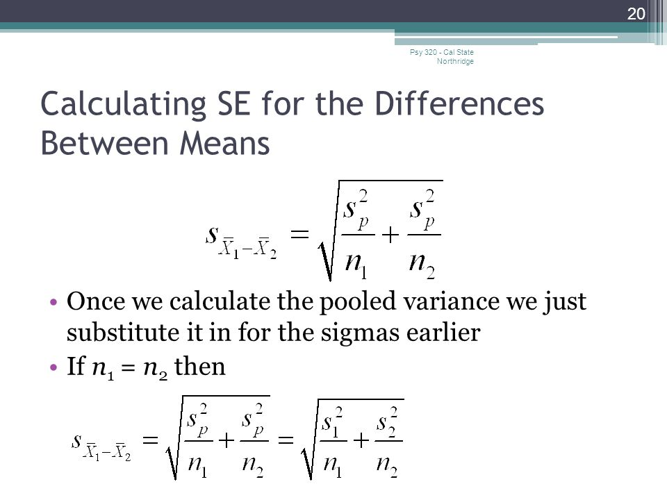 Calculating SE for the Differences Between Means