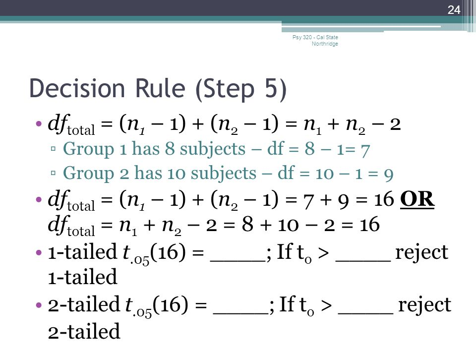 Decision Rule (Step 5) dftotal = (n1 – 1) + (n2 – 1) = n1 + n2 – 2