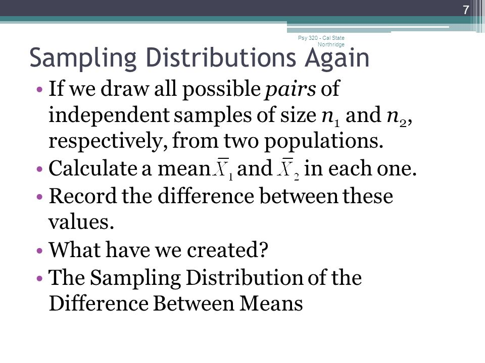 Sampling Distributions Again