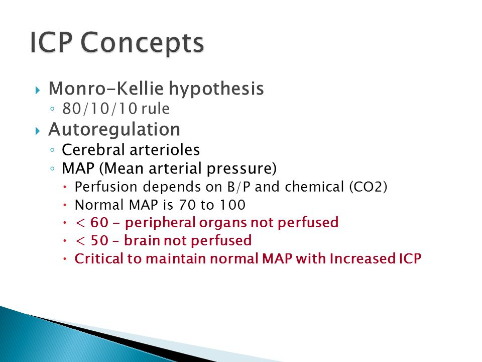 ICP Concepts Monro-Kellie hypothesis Autoregulation 80/10/10 rule