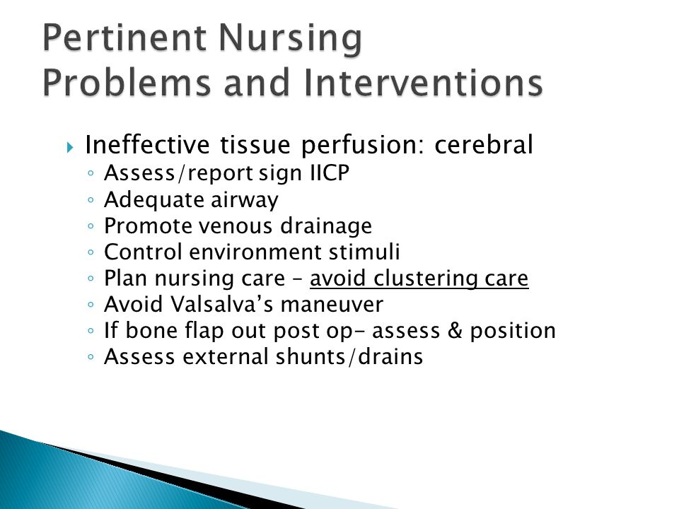 Pertinent Nursing Problems and Interventions