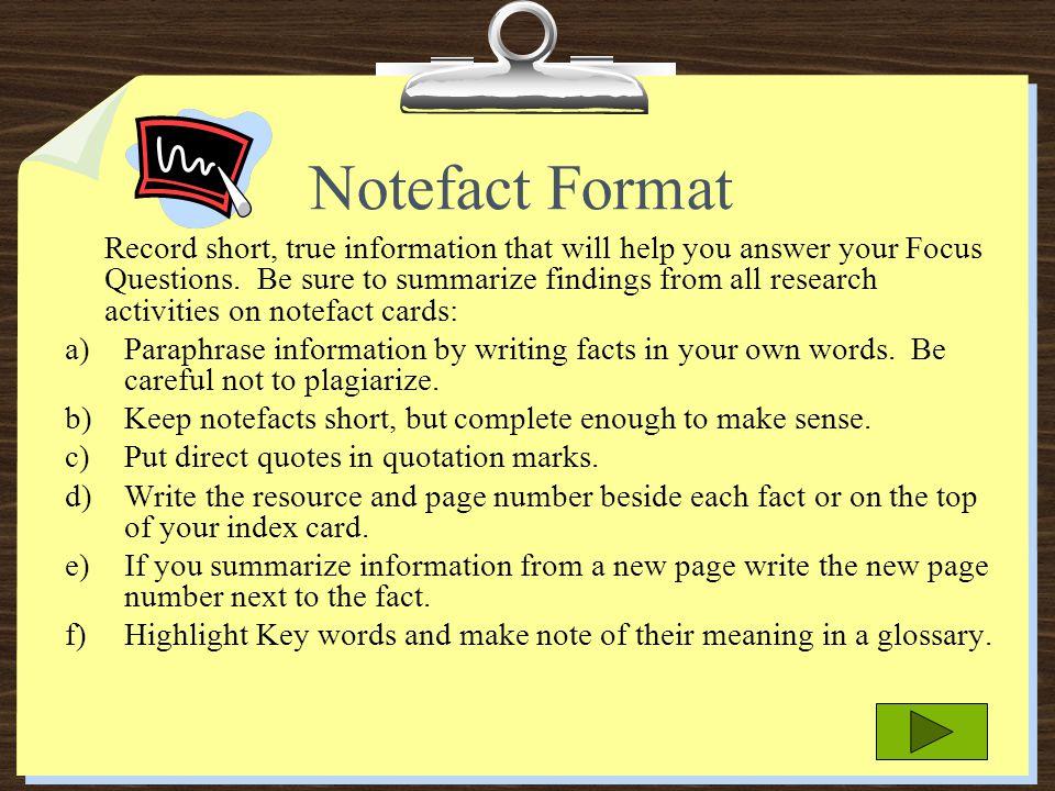 Notefact Format