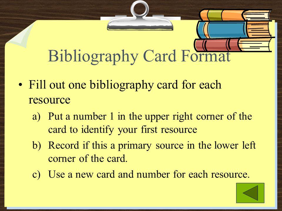 Bibliography Card Format