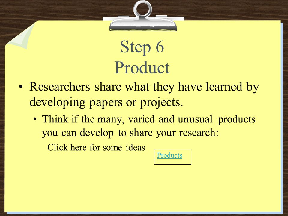 Step 6 Product Researchers share what they have learned by developing papers or projects.