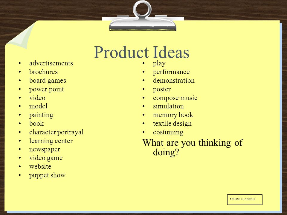 Product Ideas What are you thinking of doing advertisements play