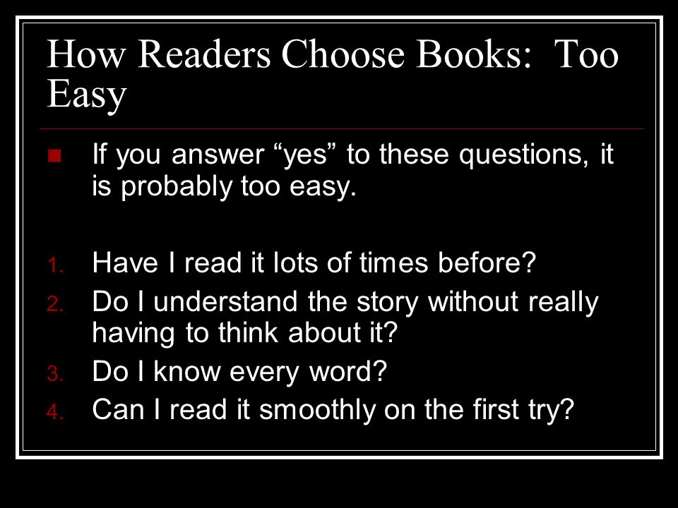 How Readers Choose Books: Too Easy