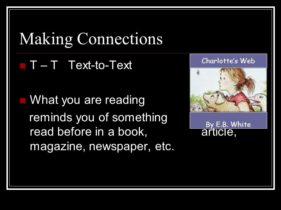 Making Connections T – T Text-to-Text What you are reading