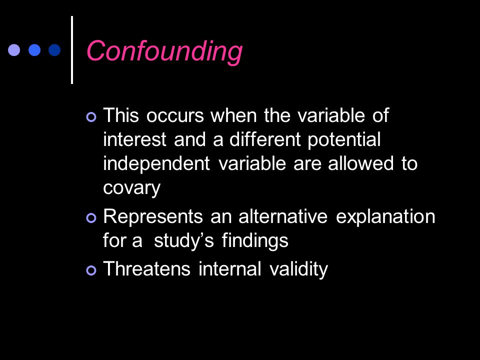 Confounding This occurs when the variable of interest and a different potential independent variable are allowed to covary.