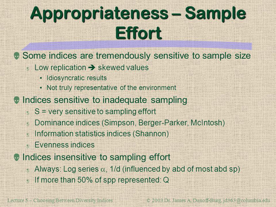 Appropriateness – Sample Effort