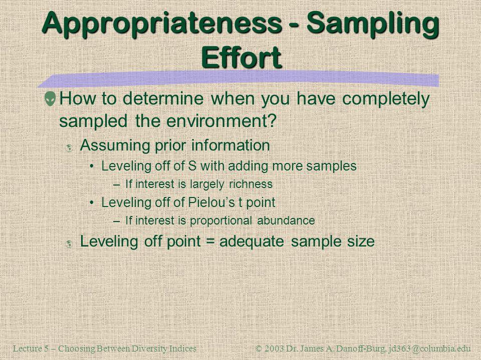 Appropriateness - Sampling Effort