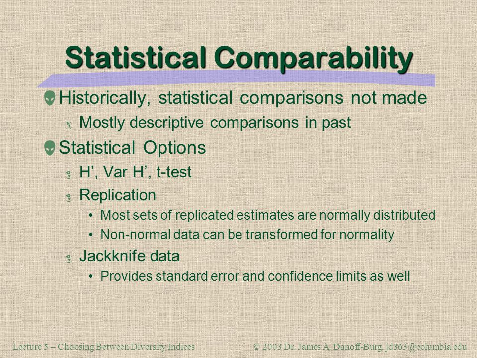 Statistical Comparability