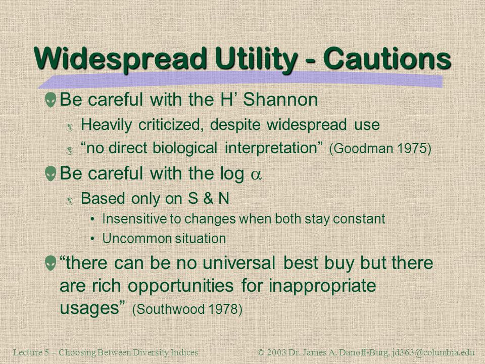 Widespread Utility - Cautions