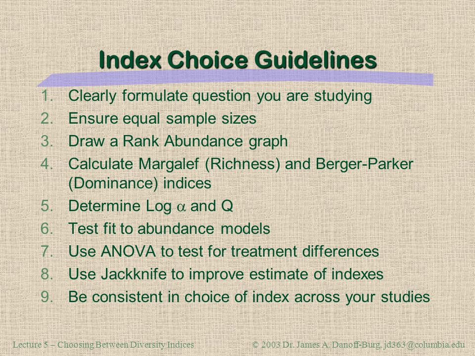 Index Choice Guidelines