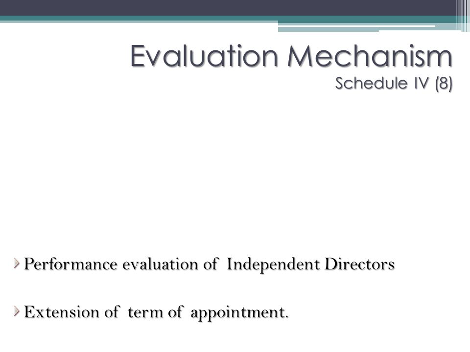 Evaluation Mechanism Schedule IV (8)