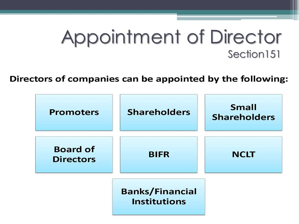 Appointment of Director Section151