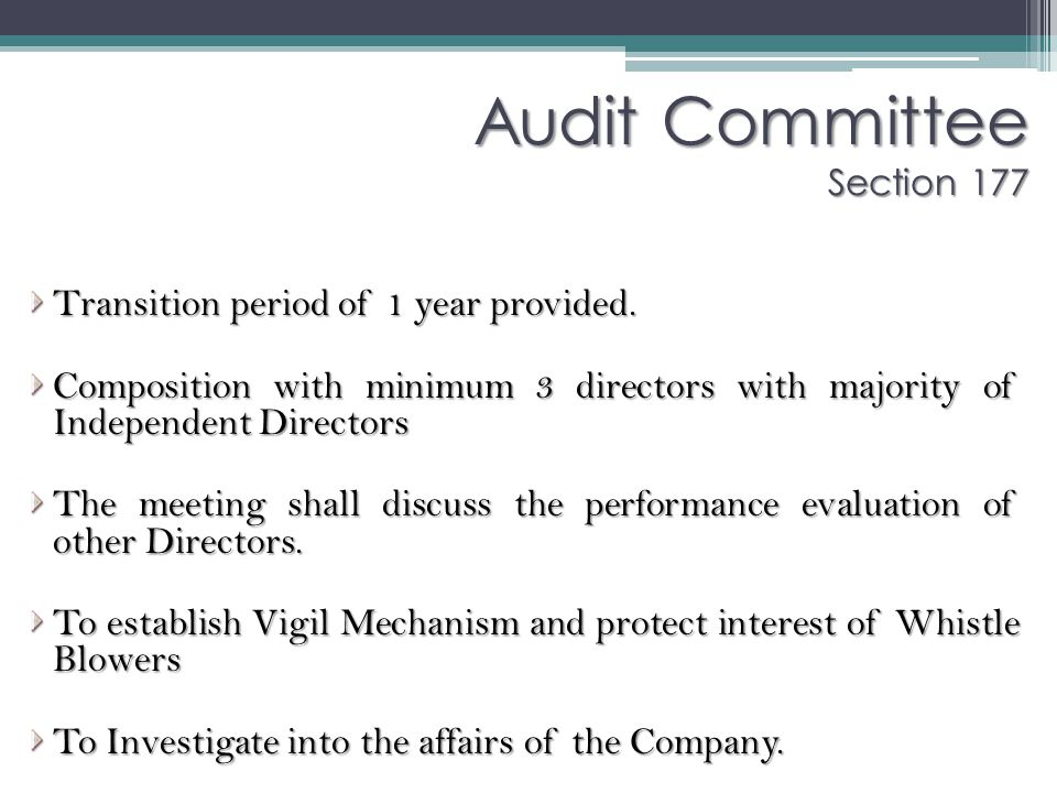 Audit Committee Section 177
