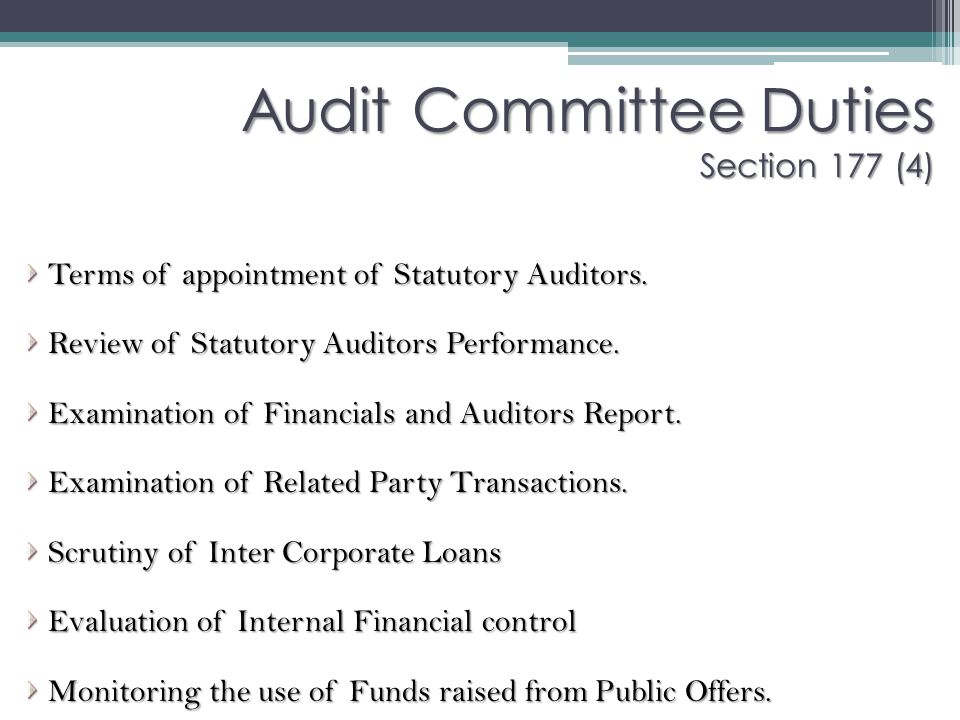 Audit Committee Duties Section 177 (4)