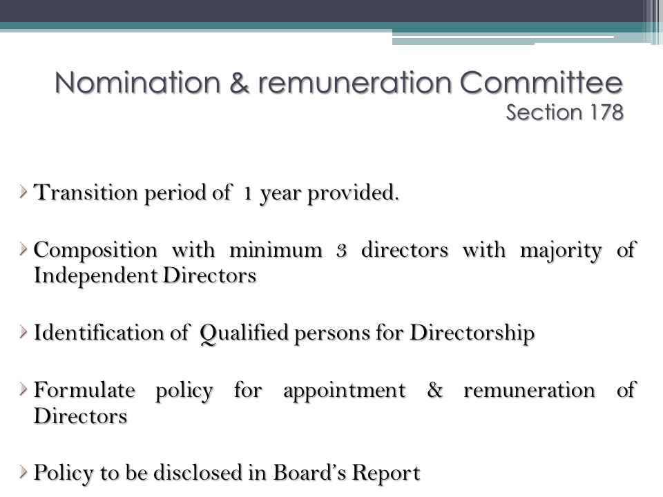 Nomination & remuneration Committee Section 178
