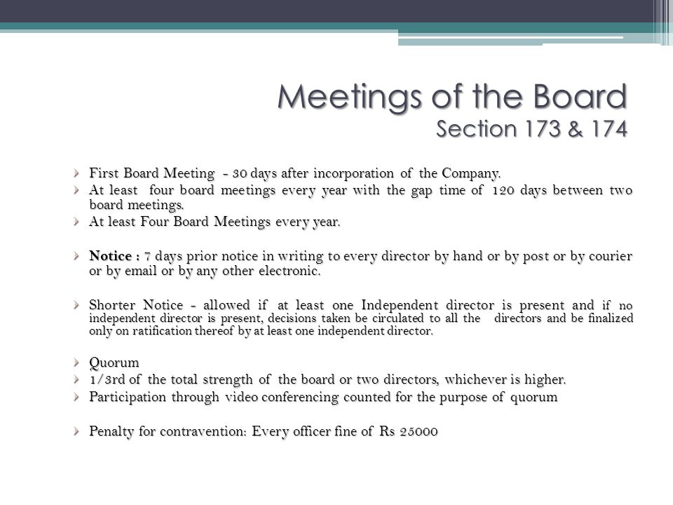 Meetings of the Board Section 173 & 174
